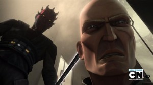 Darth Maul holding the dark saber while Pre Vizsla says his final words