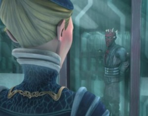 Darth Maul speaking with Duchess Satine in her jail cell while on his jail tour