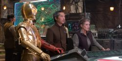Princess Leia at the Resistance base in The Force Awakens, with C-3PO and Admiral Statura alongside her (Photo Credit: David James) ©Lucasfilm 2015