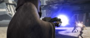 Saw Gerrera firing on some battle droids