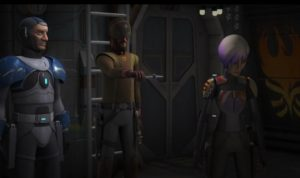 Kanan holding out the darksaber to an uninterested Sabine while Fenn Rau looks on