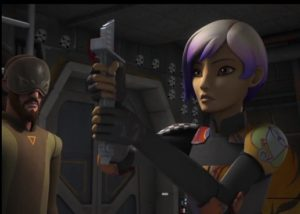 Sabine holding on to the darksaber after having received it from Kanan while he looks on