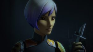 Sabine picking up Darksaber on Dathomir