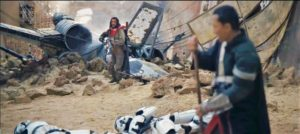 A fallen X-wing fighter in the streets of Jedha behind Baze Malbus and Chirrut Imwe in Rogue One may have been one of Gerrera's