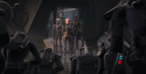 Bo-Katan Kryze wielding the darksaber with Sabine and Ursa Wren behind her while Mandalorians pledge their allegiance