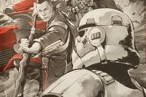 Chirrut and Baze attacking stormtroopers on Jedha in Guardians of the Whills page 37