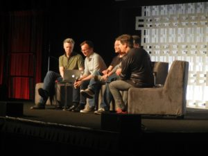 Making of Rogue One panel at Star Wars Celebration Orlando featuring John Swartz, John Knoll, Doug Chiang, and Matthew Wood, moderated by David W. Collins