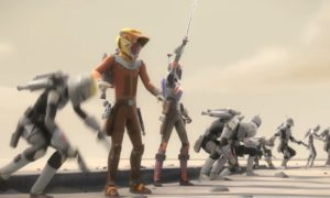 Mandalorians following Sabine to try to rescue her father