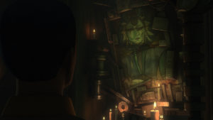 Duchess Satine painting in lair of Maul on Dathomir in Star Wars Rebels