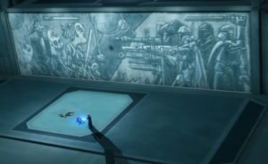 Mural depicting Mandalorians fighting Jedi on Mandalore in The Lawless