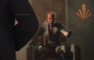 Prime Minister Almec asking Darth Maul if there is anything else he requires
