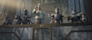 Prime Minister Almec flanked by Death Watch troopers addressing citizens of Mandalore