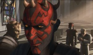 Prime Minister Almec reporting to Darth Maul after Satine contacts Obi-Wan
