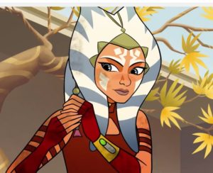 Ahsoka affixing her padawan braid