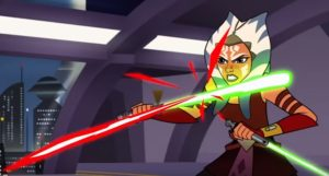 Ahsoka fending off blaster shots in The Imposter Inside