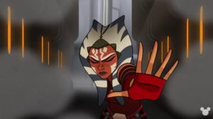 Ahsoka force pushing stuff to stop droid