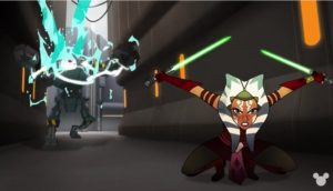 Ahsoka with lightsabers heaving successfully stopped droid