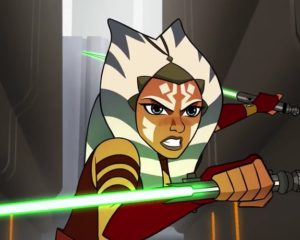 Ahsoka with lightsabers turned on ready to stop droid