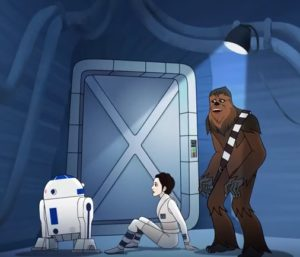 Chewbacca R2-D2 and Princess Leia on the other side of the door as the wampa