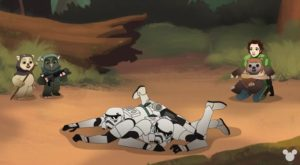 Leia catches Wicket as the stormtroopers he lassoed fall to the ground while other ewoks look on in Ewok Escape