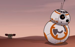 Nightwatcher Worm popping its head up and noticing BB-8 in Sands of Jakku