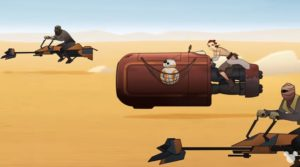 Rey being chased by thugs on speeders in BB-8 Bandits