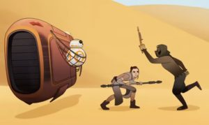Rey fending off an attack from a thug in BB-8 Bandits