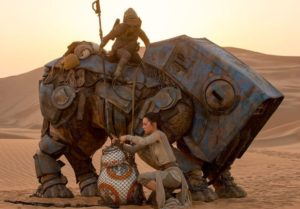 Rey rescuing BB-8 from Teedo in The Force Awakens