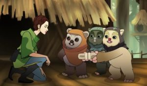 Wicket and other ewoks hand a packaged dress to Leia in Ewok Escape