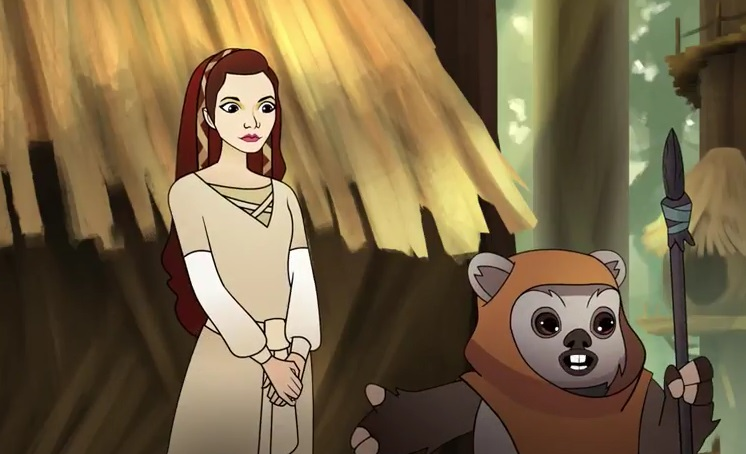 Wicket showing off Leia wearing her new dress in Ewok Escape