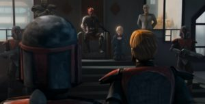 Darth Maul holding Duchess Satine prisoner flanked by Savage Oppress and Prime Minister Almec while Obi-Wan Kenobi looks on with Death Watch troopers keeping guard