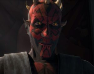 Darth Maul sitting firmly on the Mandalorian throne after the death of Duchess Satine