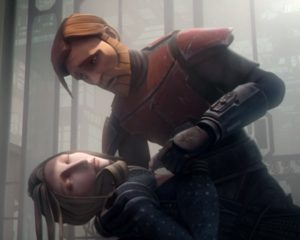 Duchess Satine dying in the arms of Obi-Wan