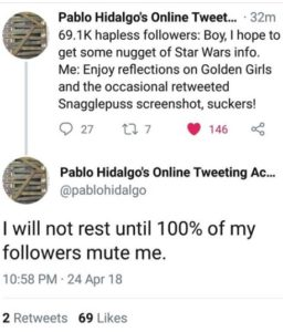 Pablo Hidalgo frustrated on Twitter -24 April 2018