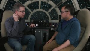 Pablo Hidalgo in the cockpit of the Millenium Falcon with Rob Bredow