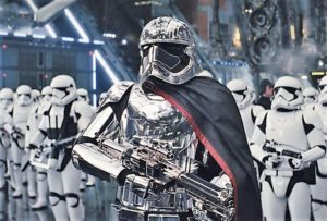 Captain Phasma in her special armor, leading First Order stormtroopers