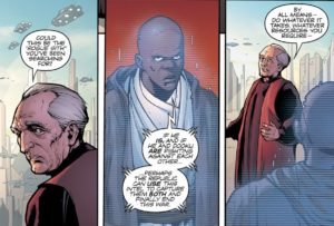 Chancellor Palpatine informing Mace Windu about Darth Maul