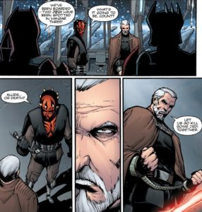 Count Dooku teaming up with Darth Maul to fight Jedi