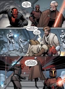Darth Maul and Count Dooku escaping in a gauntlet fighter from Obi-Wan Kenobi and clone troopers