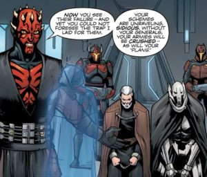 Darth Maul holding Count Dooku and General Grievous under capture while speaking to Darth Sidious through hologram