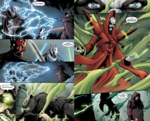 Darth Sidious uses Force lightning on the body of Count Dooku - forcing Mother Talzin out from him and corporealizing her