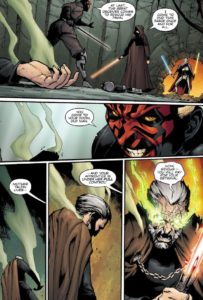 General Grievous and Darth Sidious intrude upon Darth Maul while Mother Talzin takes control of the body of Count Dooku