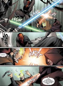 General Grievous duels with Darth Maul while Darth Sidious duels with Mother Talzin in the body of Count Dooku