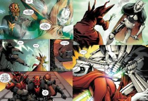 Mother Talzin sends Darth Maul away while being pursued and killed by General Grievous - saving Darth Maul