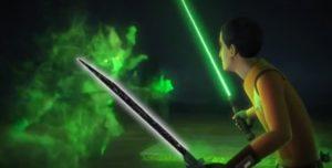 Ezra wielding both his lightsaber as well as the darksaber