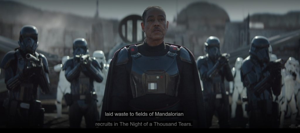 Moff Gideon describing The Night of a Thousand Tears