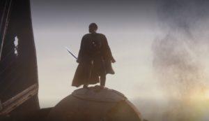 Moff Gideon wielding the darksaber in episode 8 of The Mandalorian