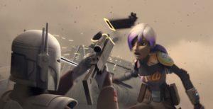 Sabine hacking a blaster with the darksaber