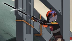 Sabine slicing through imperial structure over the statue of Tarre Vizsla in Forces of Destiny with the darksaber