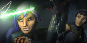 Sabine using a lightsaber to save her mother from being killed by Gar Saxon who is wielding the darksaber